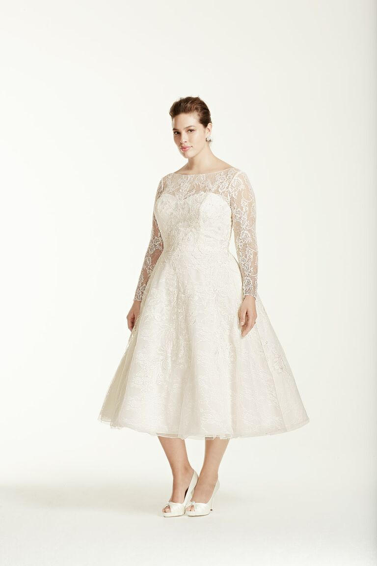 Davids Bridal plus size tea length wedding dress