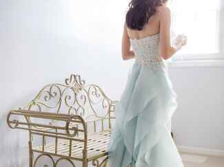 Oscar de la Renta strapless blue wedding gown
