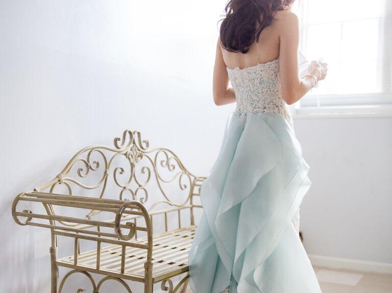 Oscar de la Renta strapless blue wedding gown