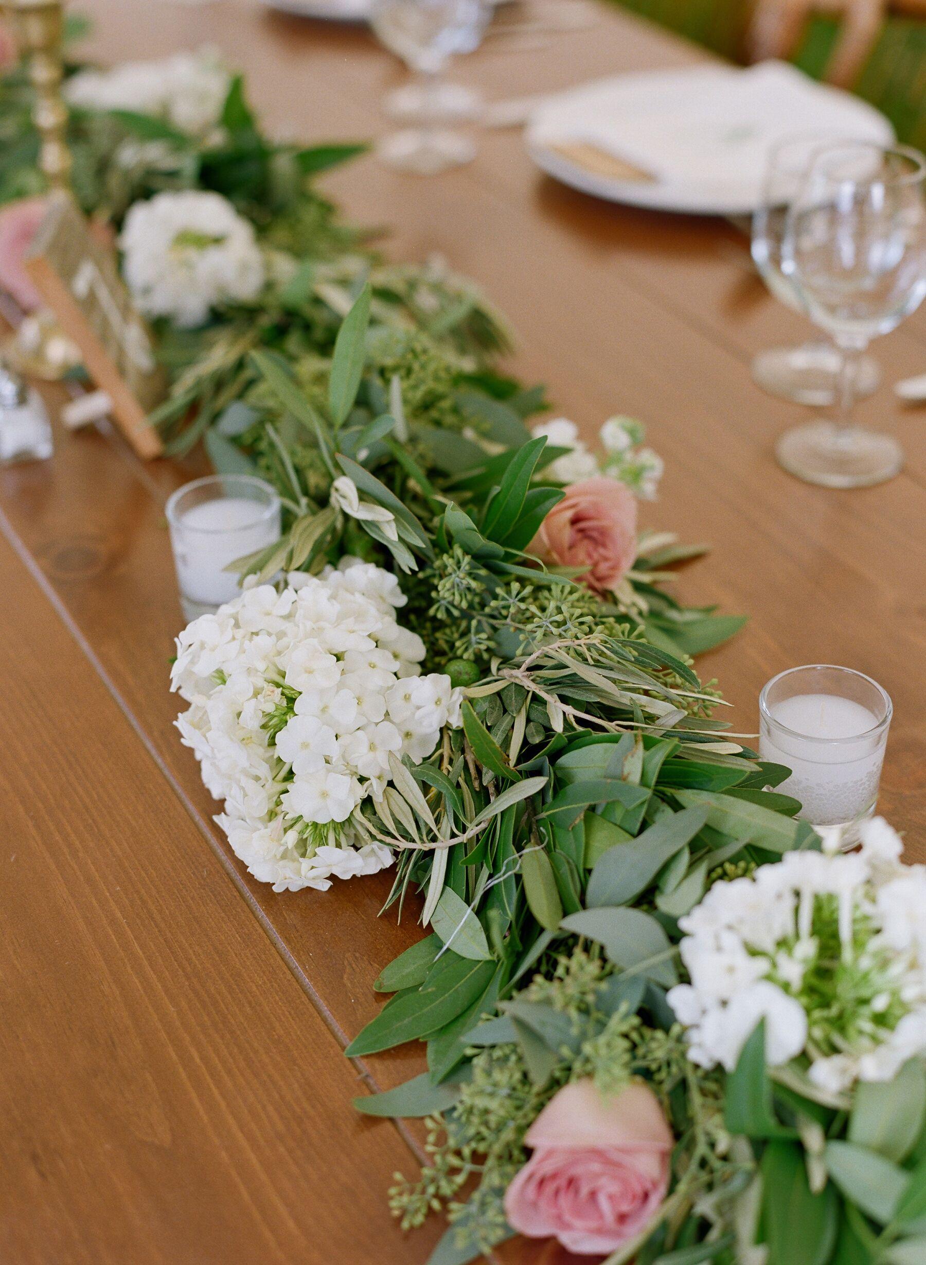 White Hydrangea Seeded Eucalyptus Garland Reception