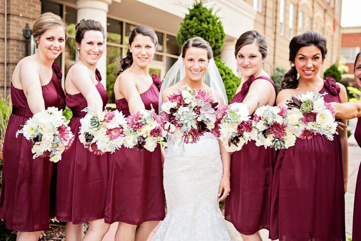 One-Shoulder Maroon Wedding Dresses