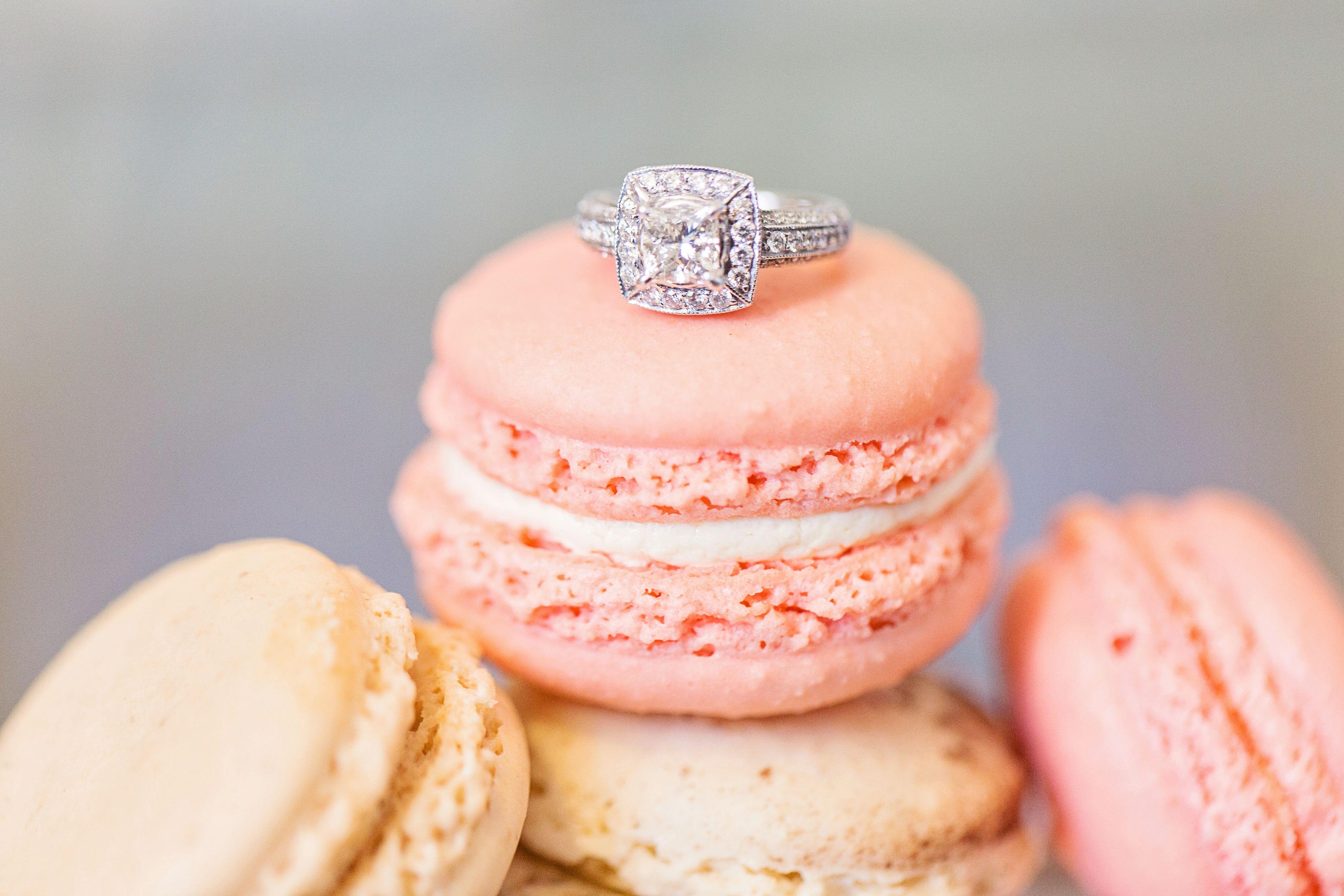 Princess-Cut Diamond Ring on Macaroon