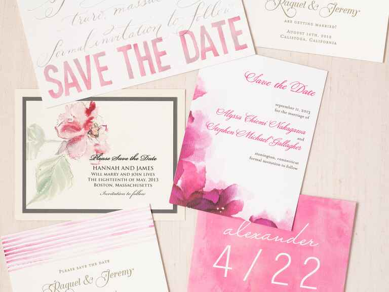 Pink and white save-the-date design ideas
