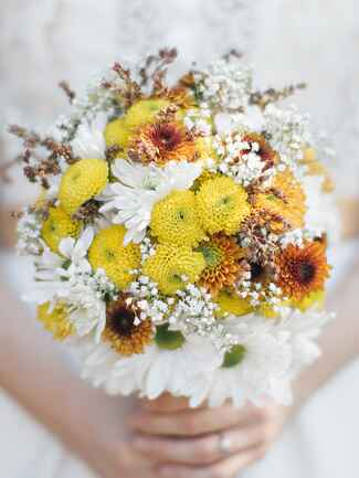 Chrysanthemums and  daisies wildflower wedding  bouquet