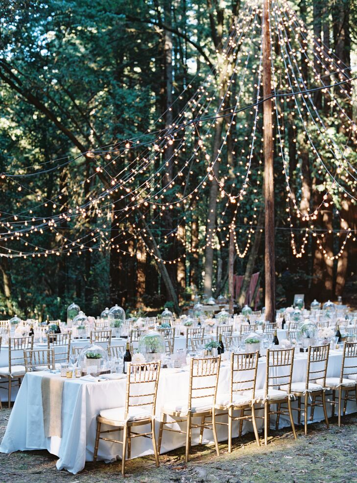 A tent-shaped market light display draped over dining tables, designed by Liz and set up by Shiloh. The tent served as the prime lighting source for the wedding day, starting at the top of a pole that had a handmade piece that had been crafted by Shiloh's late grandfather.