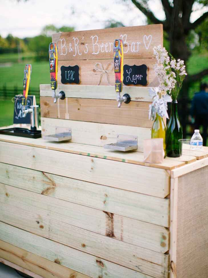 DIY beer tap for an outdoor wedding reception