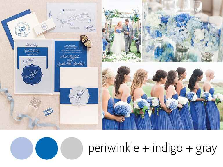 Periwinkle and indigo stationery bridesmaids dresses hyrangeas