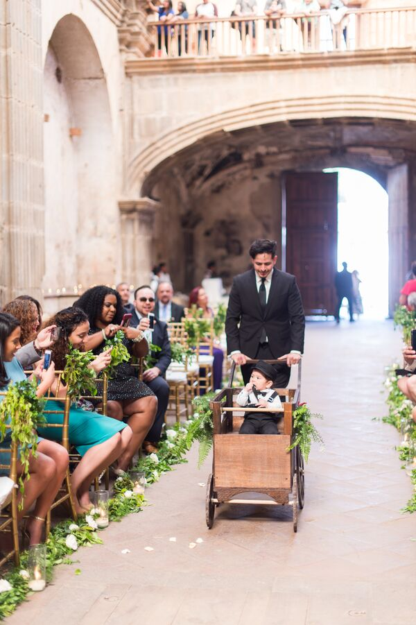 Rustic Wood Ring Bearer Carriage