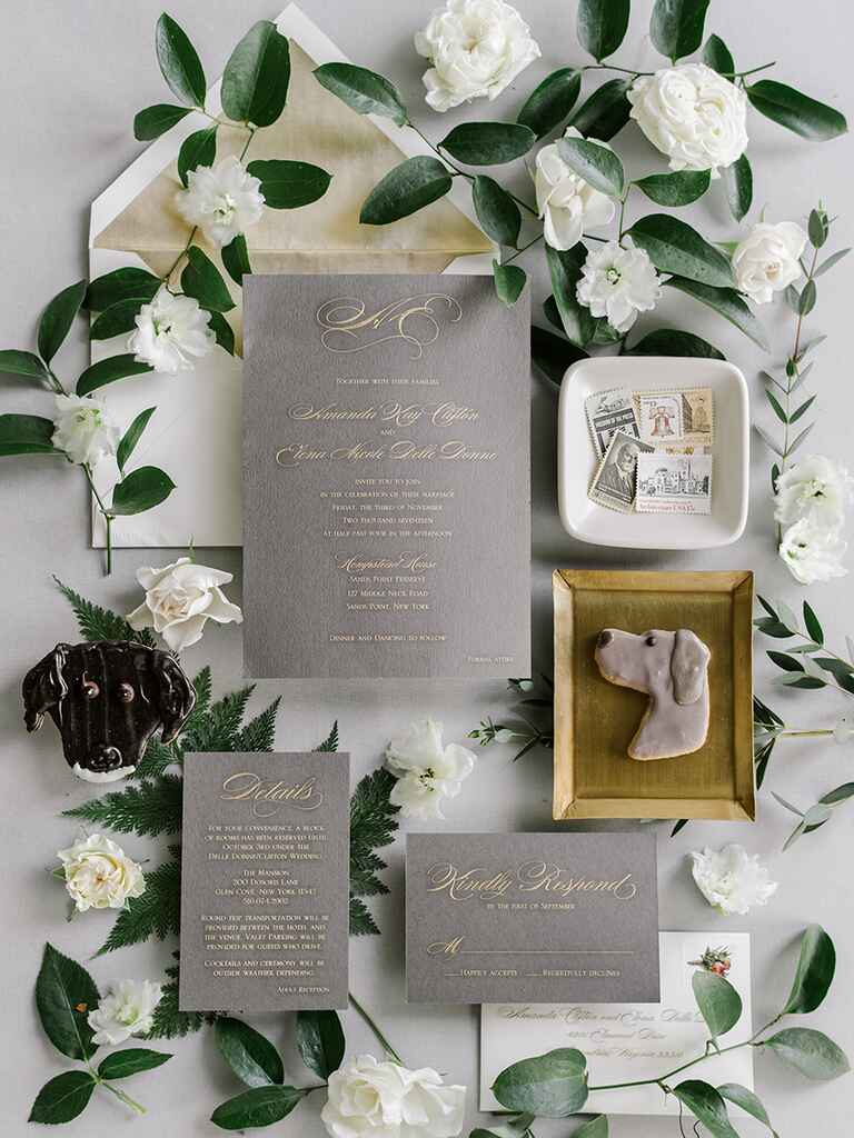 The Knot Dream Wedding 2017 gold, white and gray invitation suite