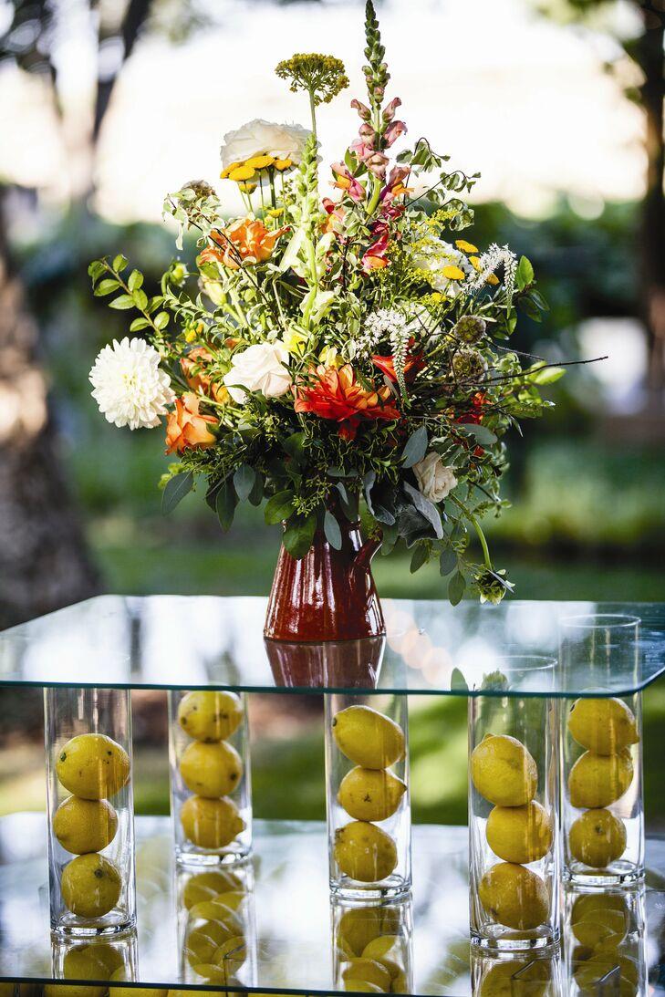 Orange yellow and green centerpieces - Yellow and orange wedding decorations ...