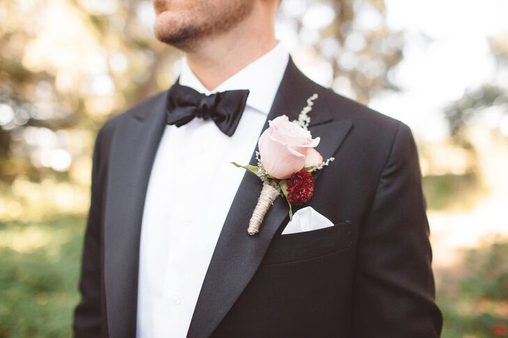 Blush Rose and Burgundy Dahlia Boutonniere
