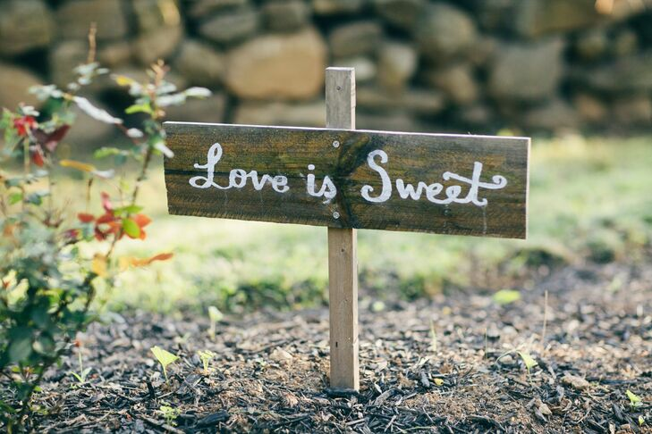 Rustic, Low 'Love is Sweet' Sign