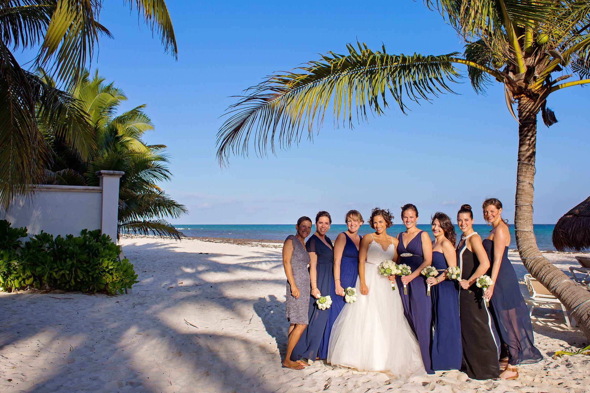 Navy Bridesmaid Dresses At Beach Wedding