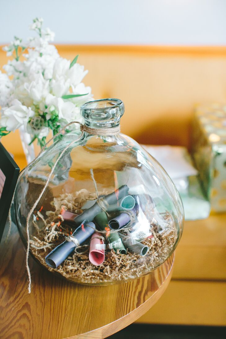 Meghan and Camron's guests wrote advice or anecdotes on how to have a long and happy marriage for the newlyweds onto little pieces of paper and tied them with twine. All the well wishes were dropped into a round glass container for safe keeping, since the newlyweds agreed to not read them until their anniversary.
