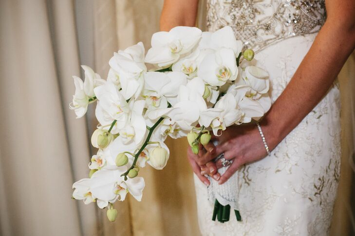Cascading White Orchid Bridal Bouquet