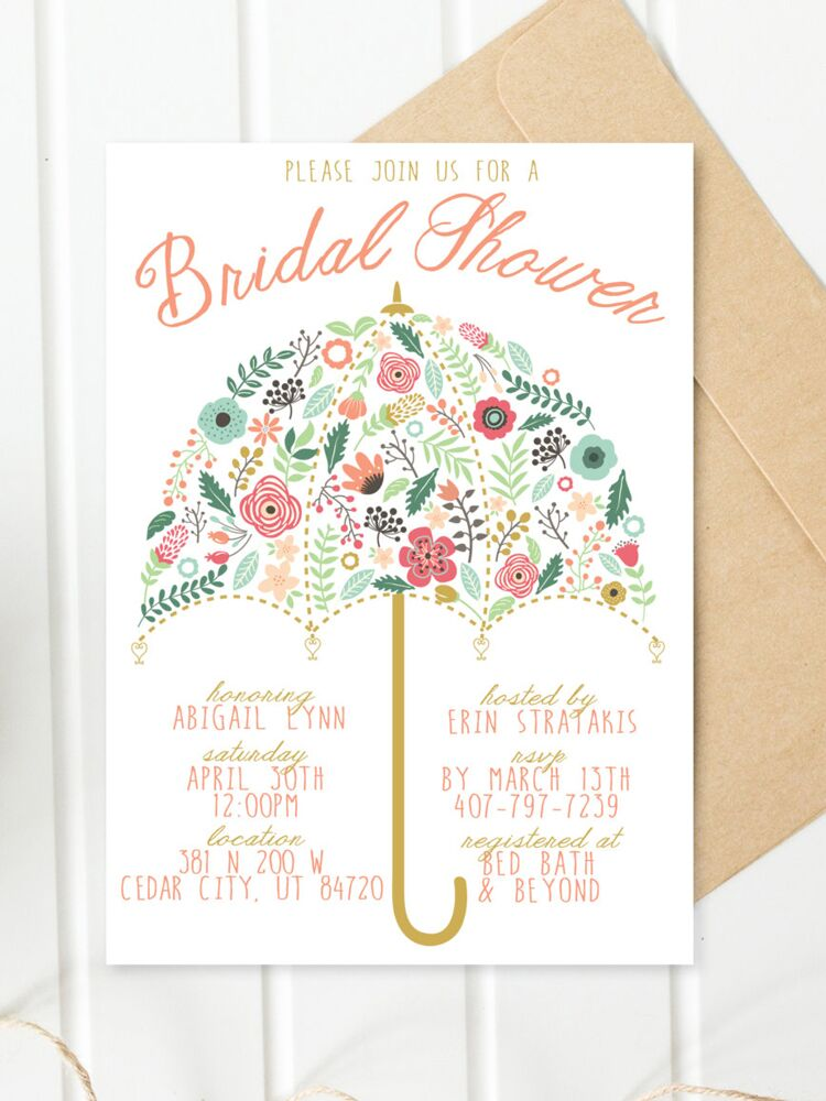 Printable bridal shower invitations you can diy floral umbrella bridal shower printable invitation diy filmwisefo