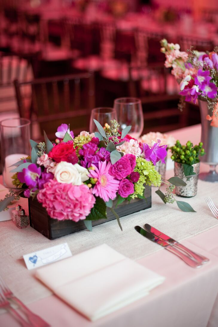 wooden flower box centerpiece