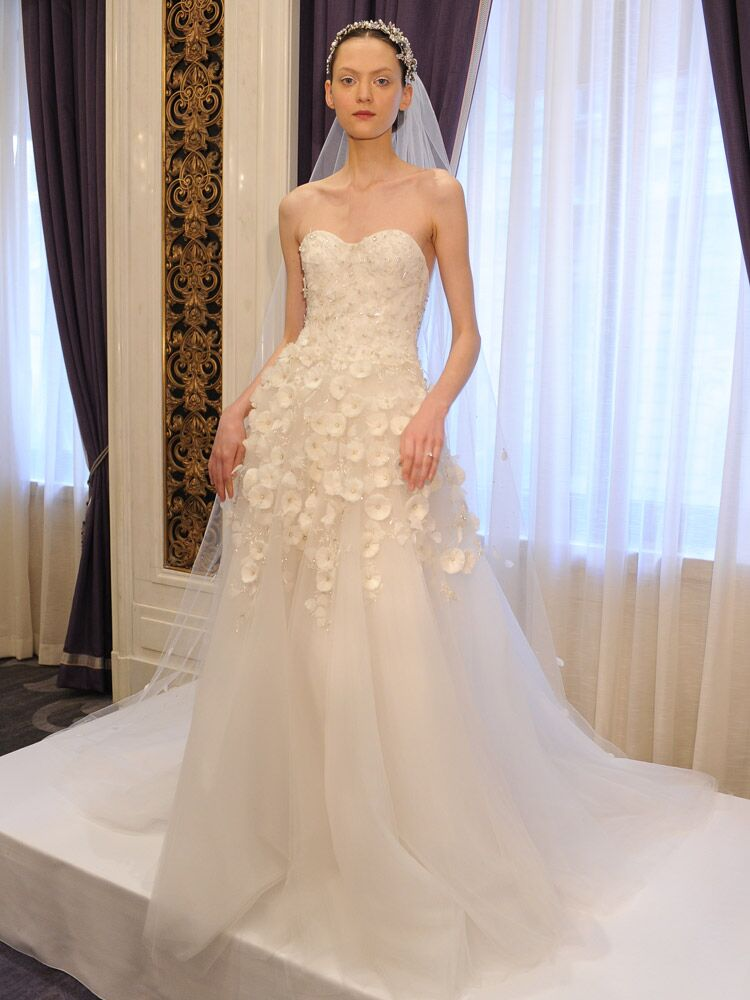 Marchesa White Strapless Ball Gown With Flower Petal And Crystal Detail