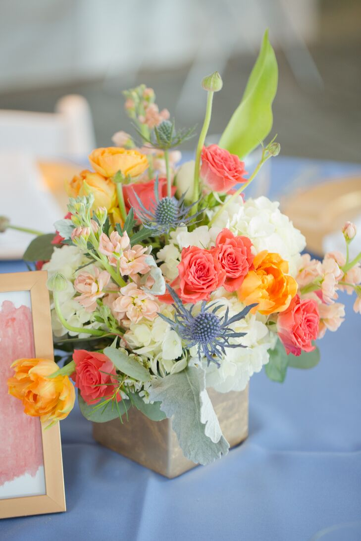 Coral And Blue Flower Arrangement