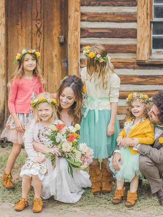 Flower girls with matching flower crowns