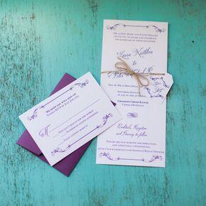 rustic neutral invitations with purple accents - Purple Wedding Invitations