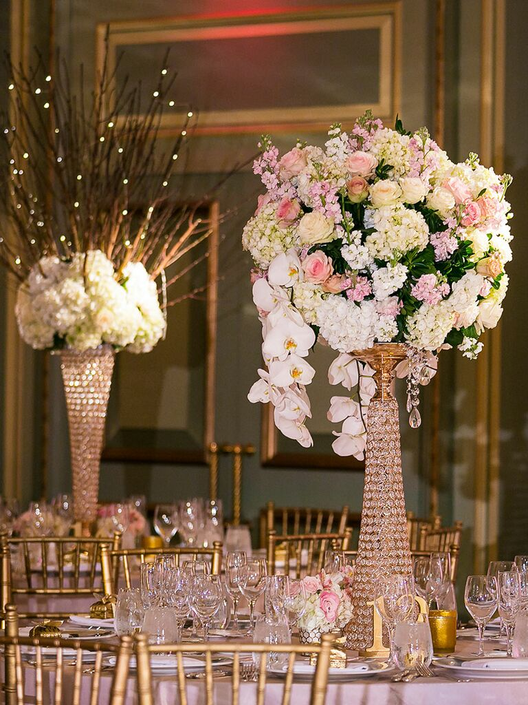 Blinged Out Blooms Sparkly Centerpiece For A Glamorous Wedding