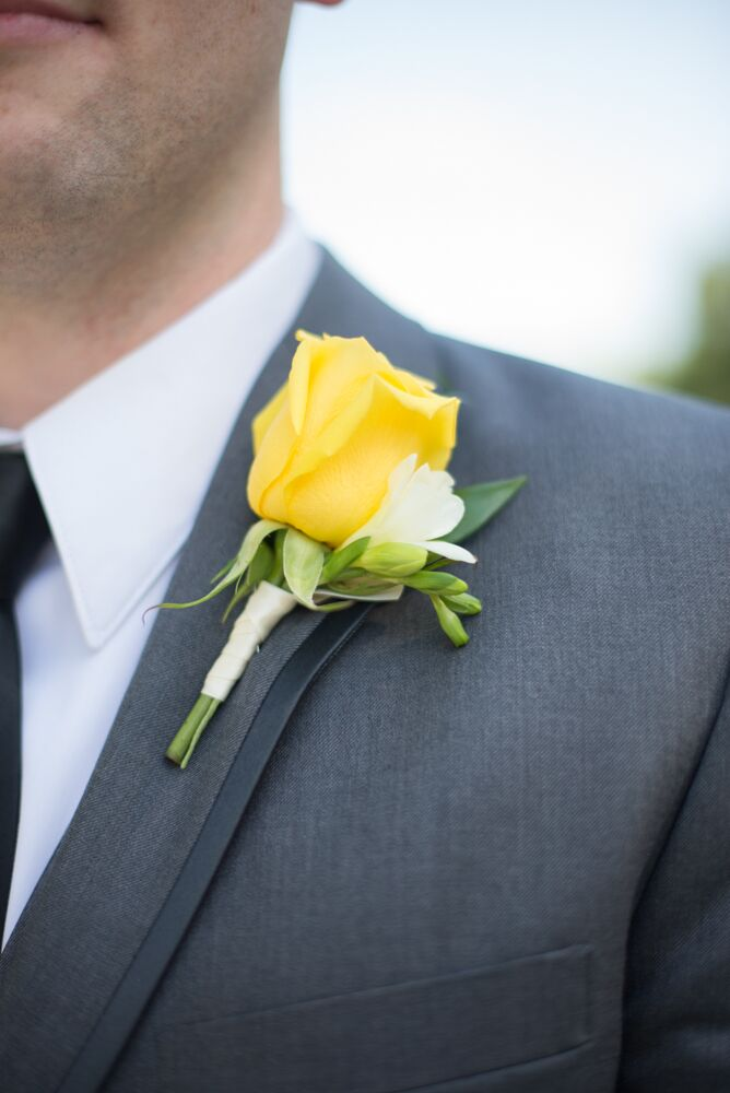 Yellow Rose And Freesia Boutonniere