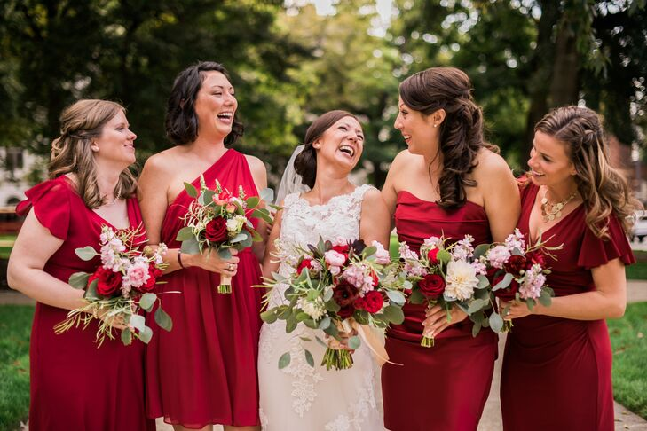 Mixed Cranberry Bridesmaid Dresses with Hand-Tied Bouquets