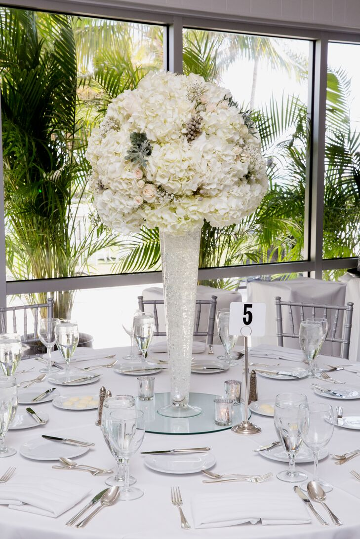White Hydrangea And Silver Brunia Centerpiece