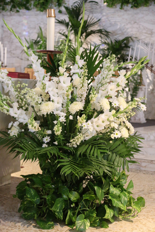 Fern And White Flower Arrangement