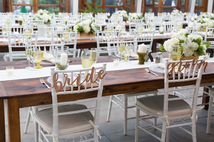 """Bride"" and ""Groom"" Reception Chair Signs"