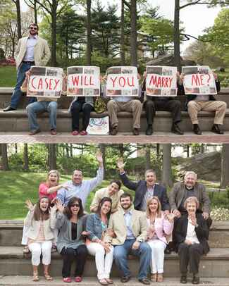 Newspaper marriage proposal with surprise family guests