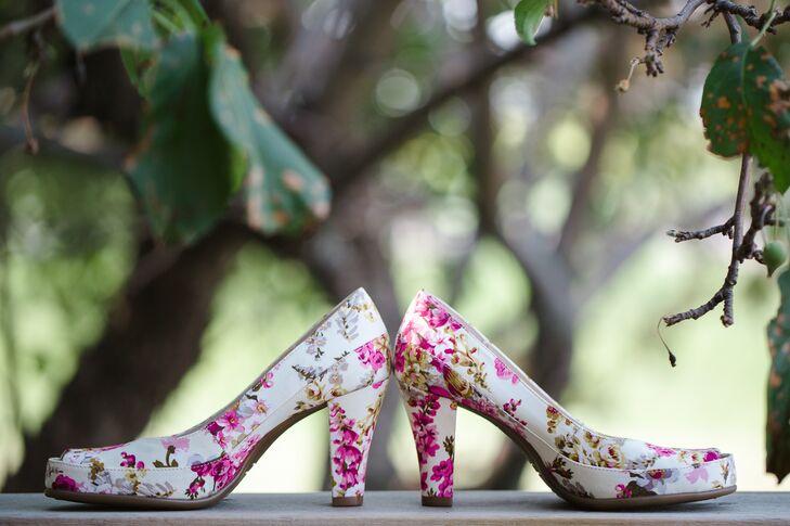 Heels With Printed Pink Flower Prints