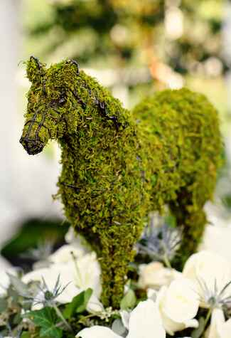 Moss horse topiary nonfloral wedding centerpiece