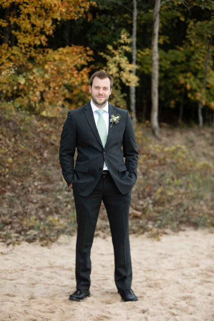 Dark Gray Groom Suit with Sage Green Tie