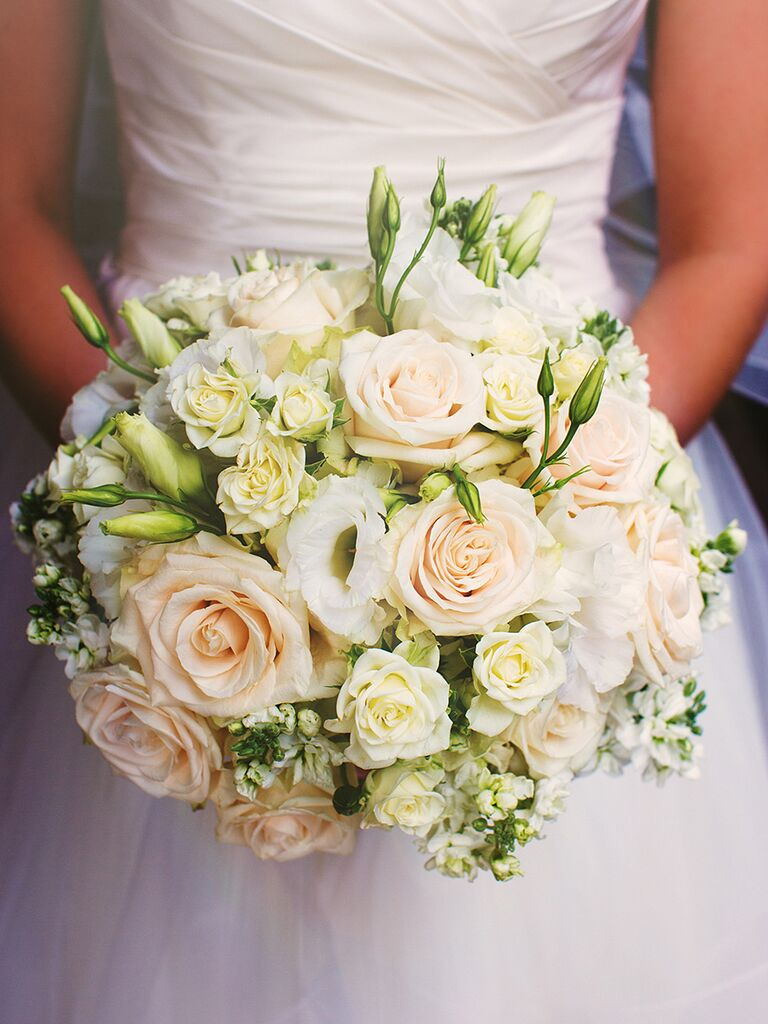 White Wedding Bouquet With Roses Spray And Lisianthis