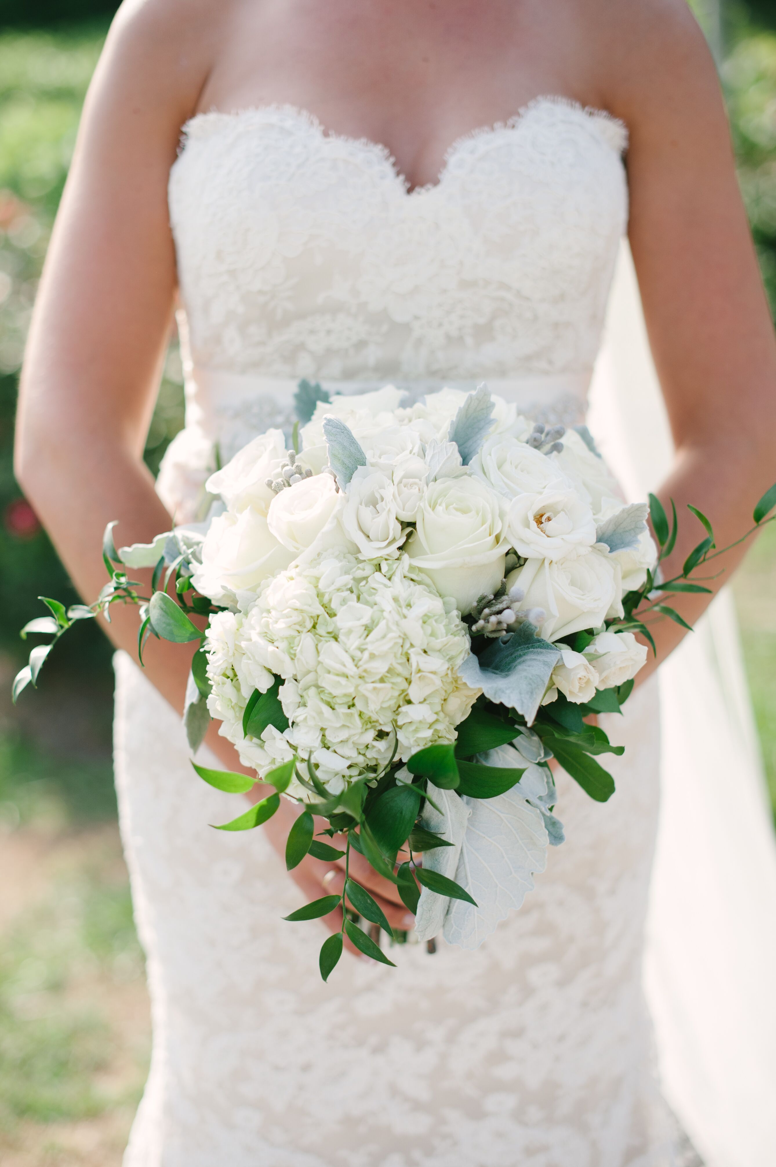 Bridal Bouquet With Roses Hydrangeas And Lisianthus