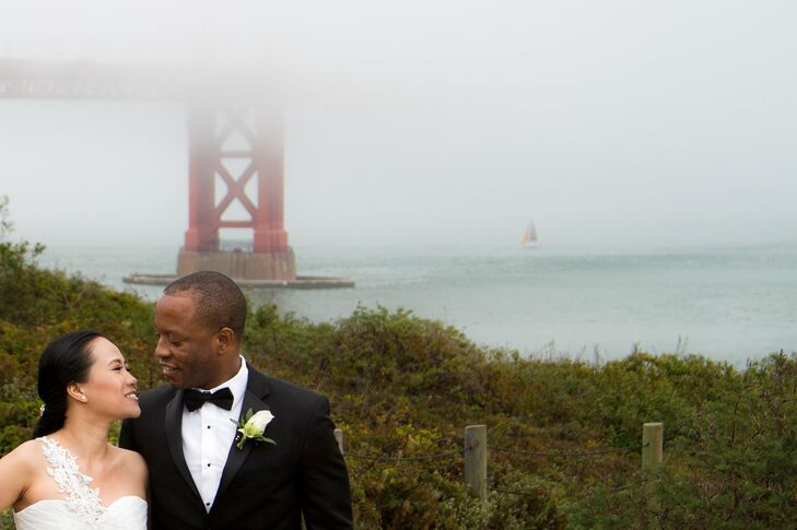 The Golden Gate Bridge was fittingly the couple's first stop on their San Francisco photo tour before their ceremony.