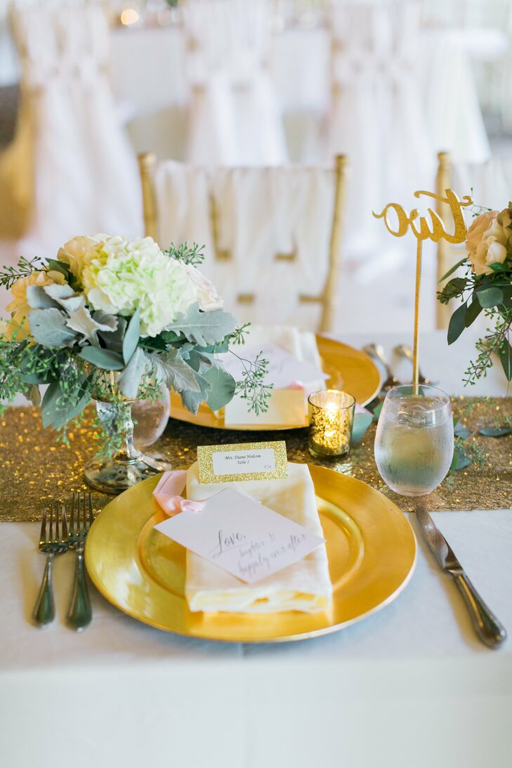 Gold decor gave tables a glamorous look—chargers, escort cards, table numbers and mercury-glass votive candles.