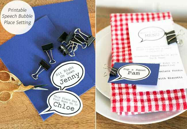 DIY printable speech bubble place setting: The Chic Party / TheKnot.com