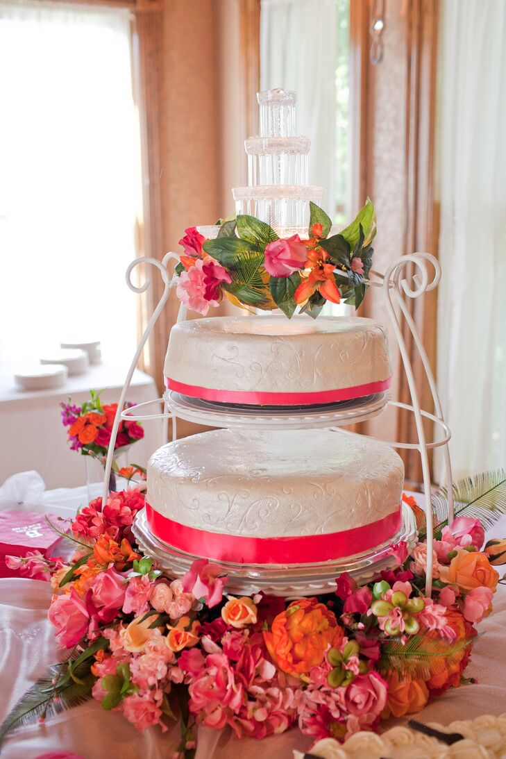 Two One-Tier White and Pink Buttercream Cakes