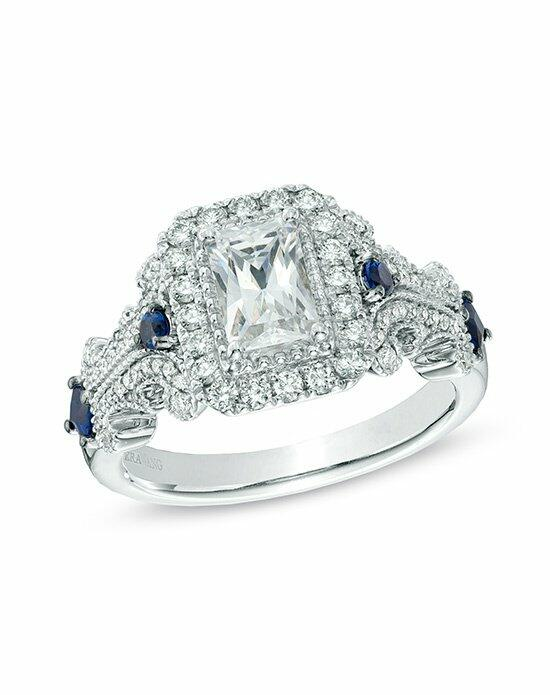 Vera Wang LOVE at Zales Vera Wang LOVE Collection 1-1/8 CT. T.W. Emerald-Cut Diamond and Blue Sapphire Scroll Ring in 14K White Gold  19969332 Engagement Ring photo