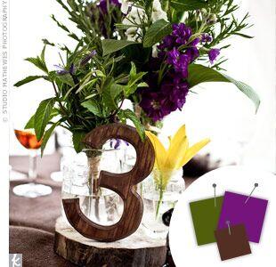 Purple Green And Brown Wedding Centerpiece