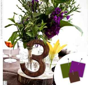 Purple, green and brown wedding centerpiece