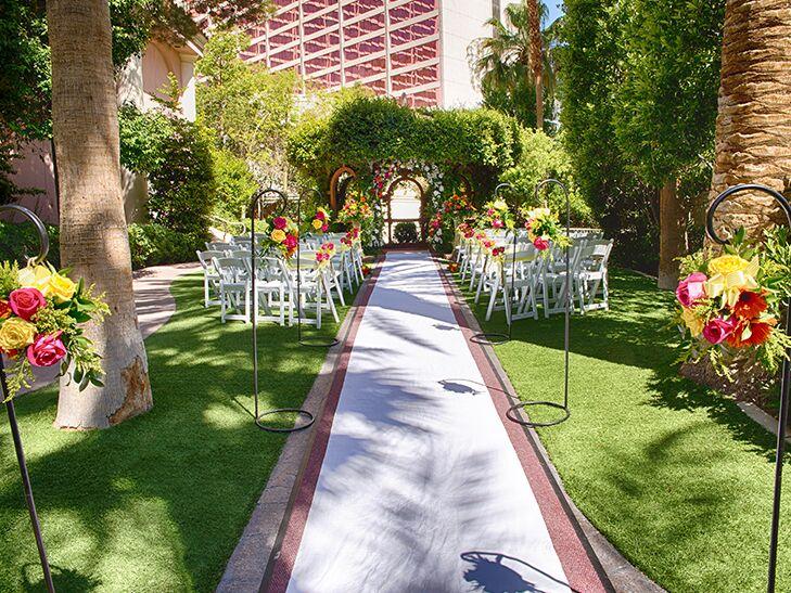 In A Hidden Oasis At The Flamingo Lush Garden Wedding Ceremony Las Vegas