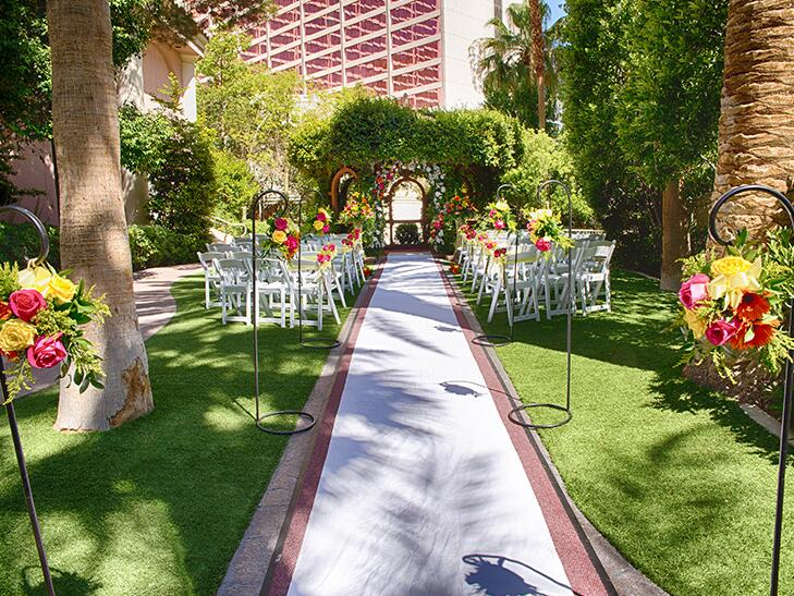 lush garden wedding ceremony in Las Vegas