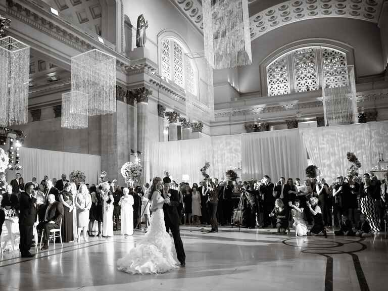 Couple's first dance at glamorous wedding reception