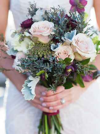 Eucalyptus and rose wildflower wedding  bouquet