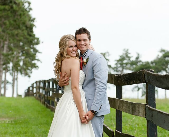 Wedding dress falls off pictures of shingles