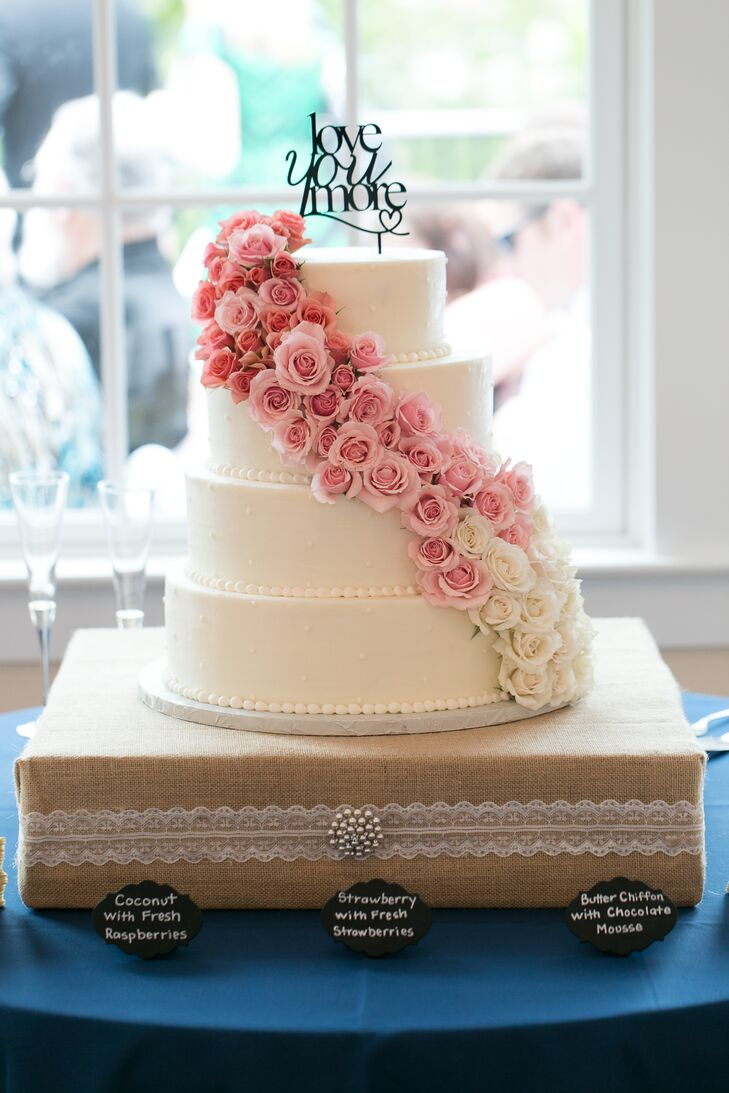 White Wedding Cake With Pink Ombre Roses